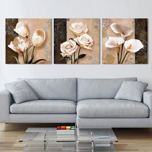 Modern 3 Panel Paintings Abstract Flowers Oil Painting Modular Picture Mural Canvas Wall Art Pictures Living Room Hd Print