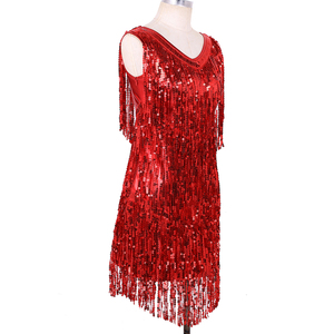 Image 4 - TiaoBug Women Ladies V Neck Sleeveless Sparkling Sequin Tassels Fringe Ballroom Samba Tango Stage Latin Dance Dress Rave Costume