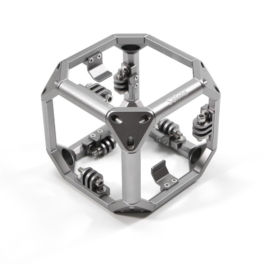 Selens Aluminum Spherical Video Diving 720 Panorama GoPro Omni Holder for VR Filming Xiaomi Yi Action Camera Sjcam Sj5000 EKEN cnc aluminum alloy 360 degree spherical panorama frame mount panoramic for xiao yi vr aerial photography