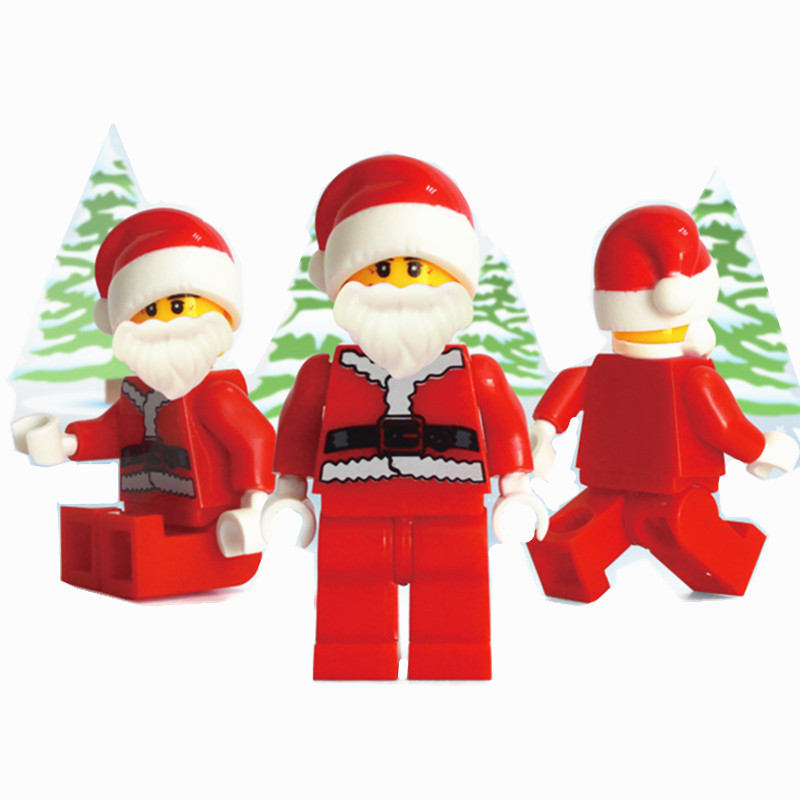 100pcs/lot! Santa Clause Bricks Christmas Gift Figures Bulidng Blocks Toys for Children 12pcs set children kids toys gift mini figures toys little pet animal cat dog lps action figures