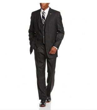 2017 Custom Made One Button Groom Tuxedos Wedding Suit for men Groomsman Suit Boys Suit Jacket+Pants+Vest Bridegroom Mens Suit
