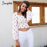 Simplee Casual puff sleeve women blouse shirt Vintage dot white blouse summer Elegant backless elastic tops femme 2018