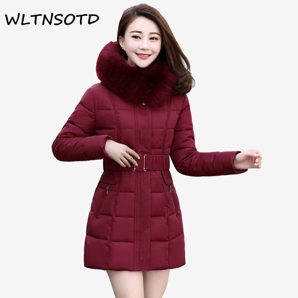 2017 New winter cotton jacket women long Slin Adjustable Waist Solid coat Female fashion Hooded Fur collar Parkas new arrival fashion korean winter hooded cotton adjustable hem double breasted puff sleeve fur collar women jacket coat h4283