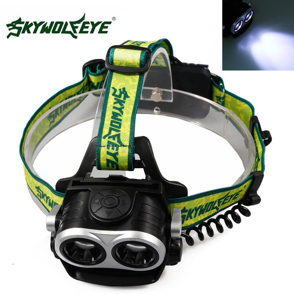 SKYWOLFEYE XM-L T6 LED Double Head Headlamp Headlight 1000 Lumen USB Rechargeable Zoomable Head Light Lamp For Outdoor Camping