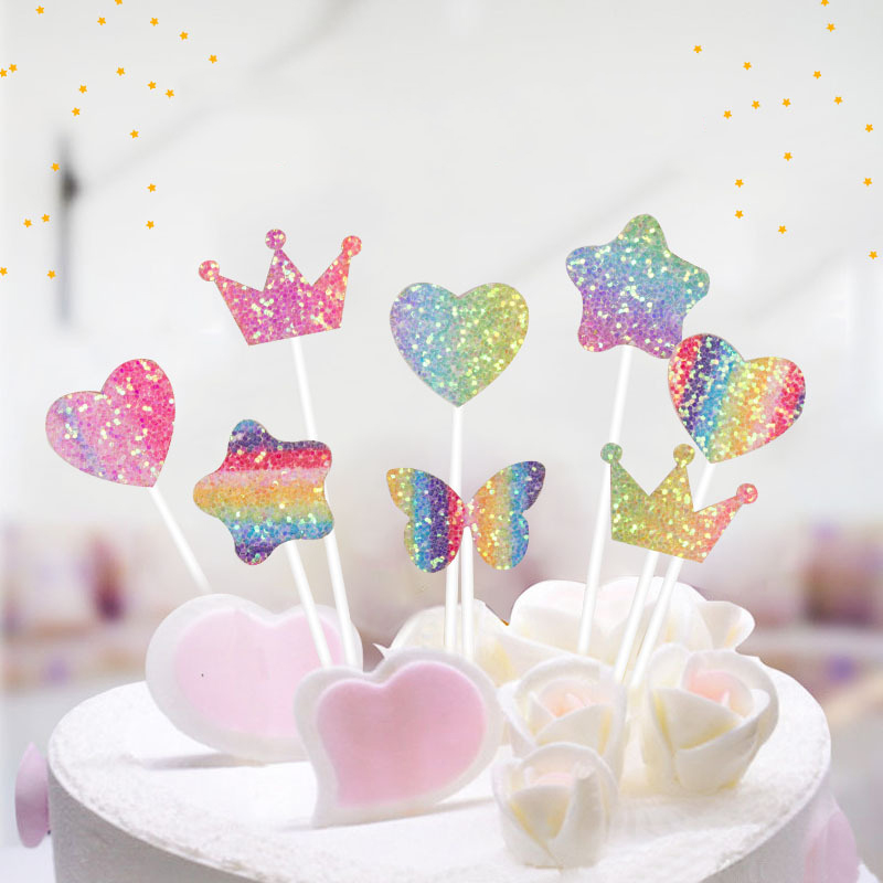 5PCs Party Cake Decor Rainbow Heart Flash Stars Butterfly Cake Topper Birthday Cupcake Topper For Baby Shower Cake Decoration