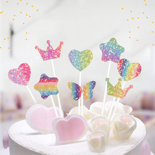5PCs Party Cake Decor Rainbow Heart Flash Stars Butterfly Topper Birthday Cupcake For Baby Shower Decoration