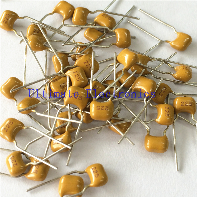 100pcs/lot  Multilayer Ceramic Capacitor 2.2uF 225 50V 2200nF 225M P=5.08mm