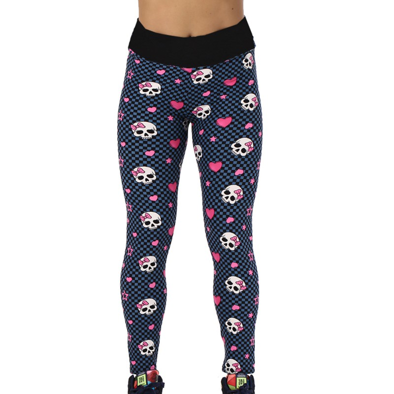 New Style Women Sports Leggings Yoga Trousers Running Workout Fitness Gym Athletic Pants Print Skull