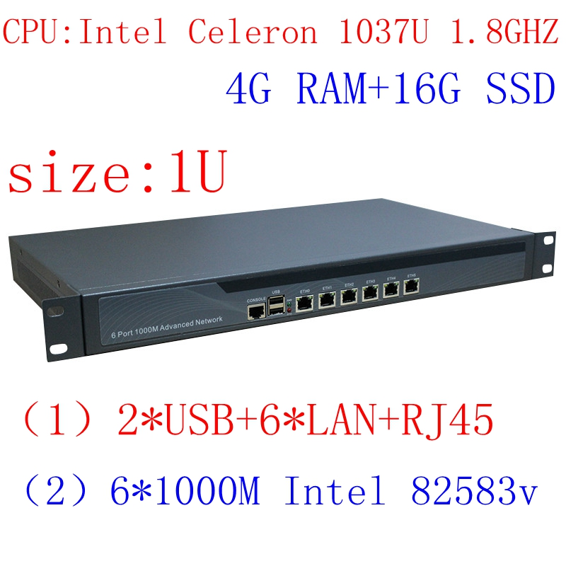 4G RAM 16G SSD 1037U Dual Core 1.8GHZ  Intel PCI-E 1000M 6*82583v Firewall Hardware With Flow Control RIPPLEOS Openwrt ROS