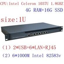4 Г ОЗУ 16 Г SSDDual Core 1037U Intel PCI-E 1000 М 6*82583 v Аппаратный Брандмауэр с Потоком управления RIPPLEOS openwrt ROS