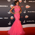 2016 Sexy See Through Hot Pink High Neck Beading Tulle Mermaid Evening Party Dress with Flowers Red Carpet Celebrity Dresses