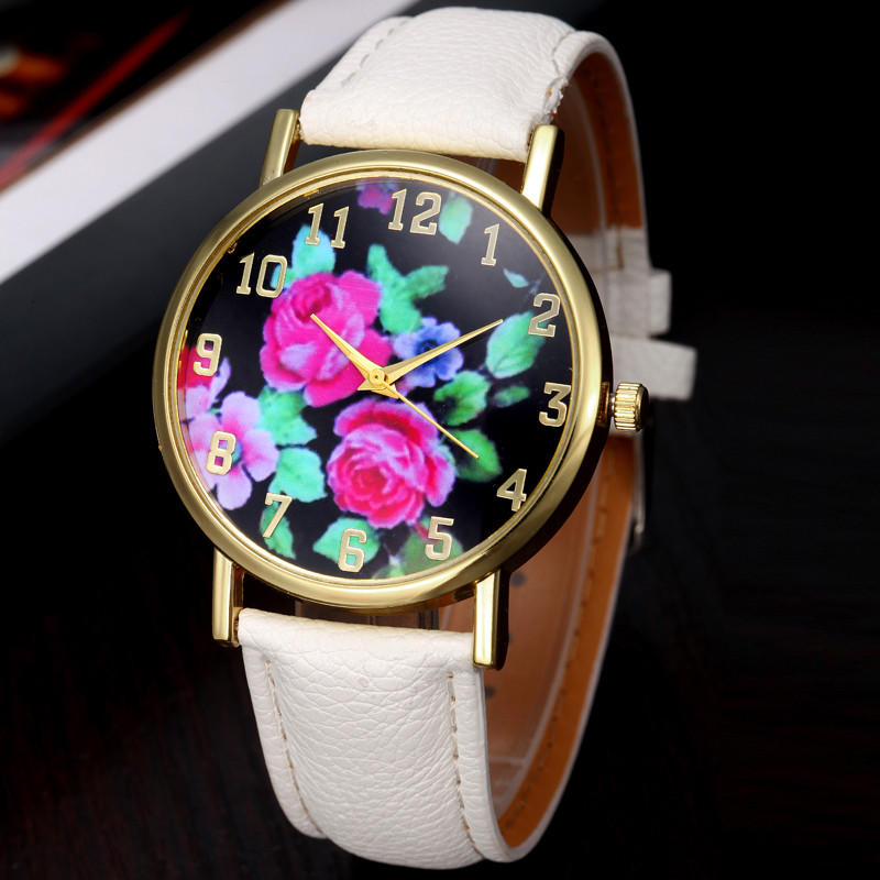 FHD Women's PU Leather Rose Floral Printed Analog Quartz Wrist Watch ladies designer watches luxury watch women 2016