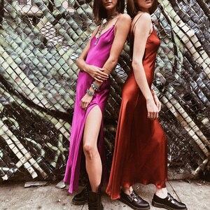 Image 2 - Instahot sexy cetim com decote em v maxi vestido feminino cinta de espaguete sem costas lado dividir vestidos longos 2019 primavera senhora vestido