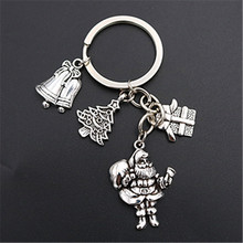 WKOUD 1pc Antique silver Santa * Christmas tree bell gift creative handmade DIY charm alloy key chain