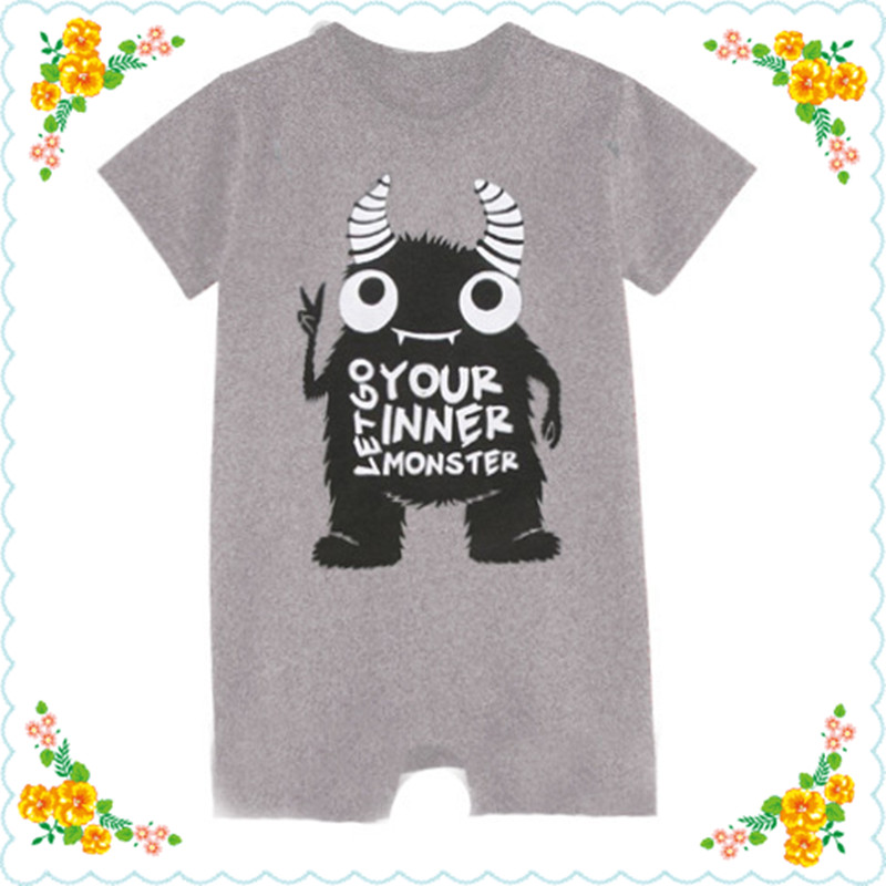2017 Newborn Baby Boys Girls Jumpsuit Infant Cotton Rompers Summer Short Sleeve Clothes Toddler Unisex O-Neck Character Clothing