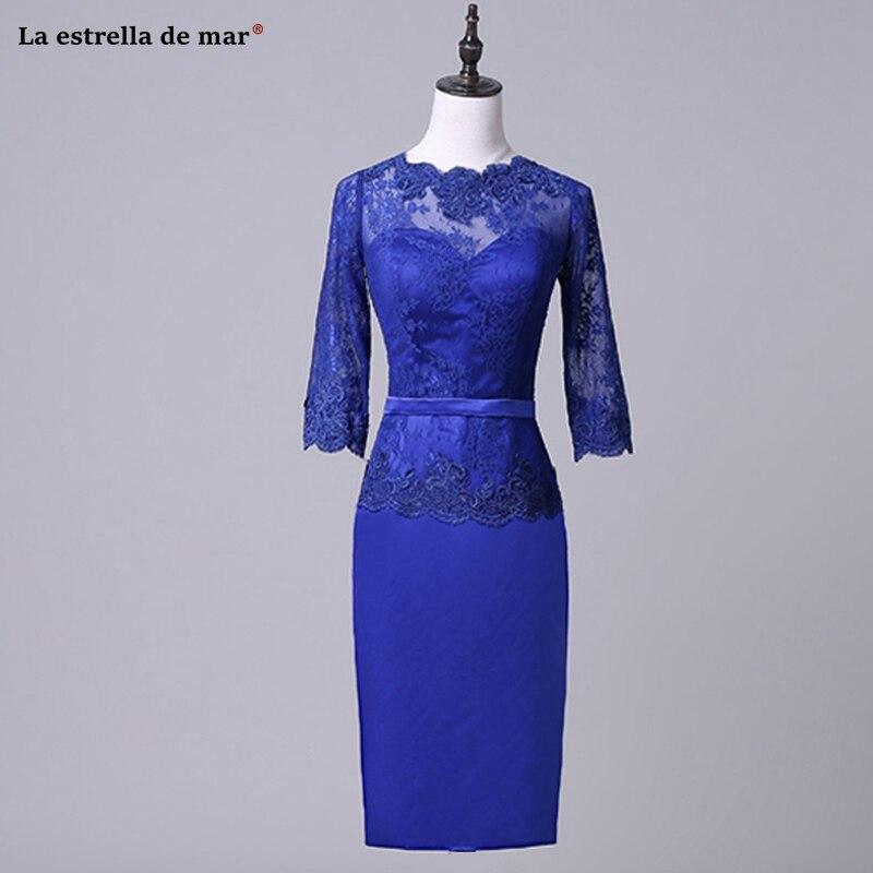 Robe mere de la mariee 2019 new lace satin O neck 3/4 sleeve royal blue sexy mermaid mother of the bride Tea-Length wedding part