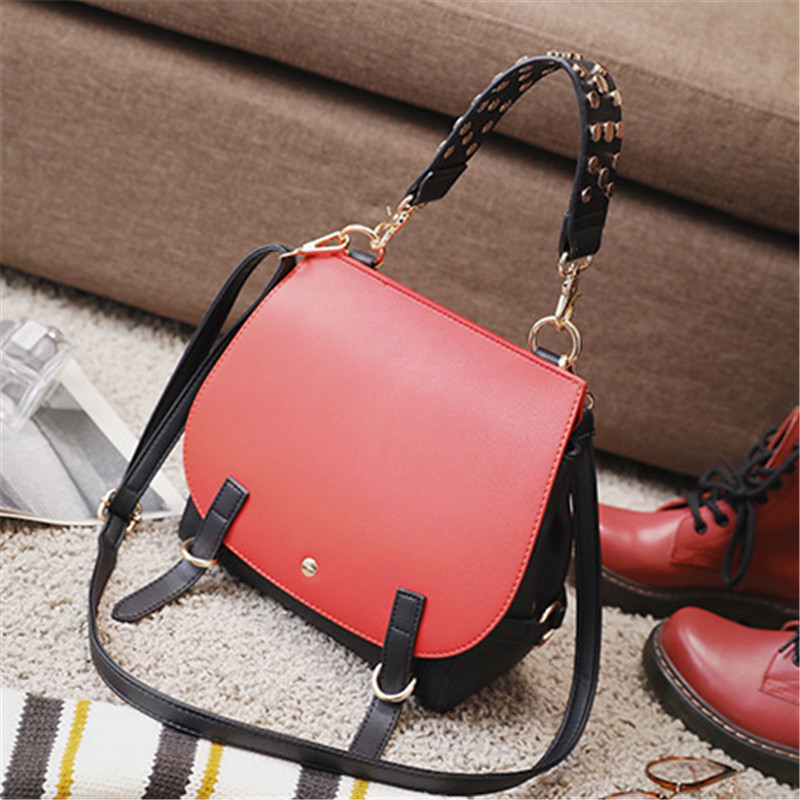 2017 Spring New Female Package European And American Fashion Shoulder Bag Rivet Hit Color Handbag Women Tote Bags Messenger Bags european candy color jelly package imported rubber rubber single shoulder handbag concise doctrine finalize the design package