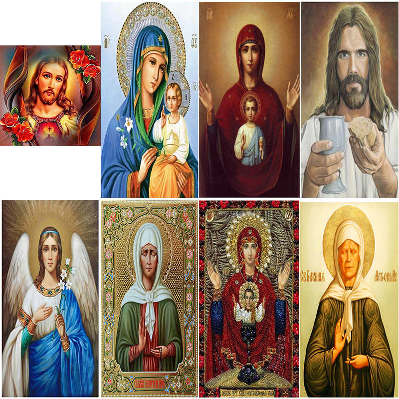 DIY Diamond painting cross stitch 8 Pictures of Religious Icon of 5d Diamond Embroidery mosaic New Year decoration GIFT