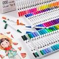 12/24/36/48/60/72/100 cor fineliner água base dupla cabeça esboço marcadores escova caneta para desenhar colorir livros design arte suprimentos