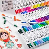 12/24/36/48/60/72/100 delineador de Color con doble cabezal a base de agua, marcadores Punta de cepillo, bolígrafo para dibujar libros de colorear, suministros de Arte de diseño