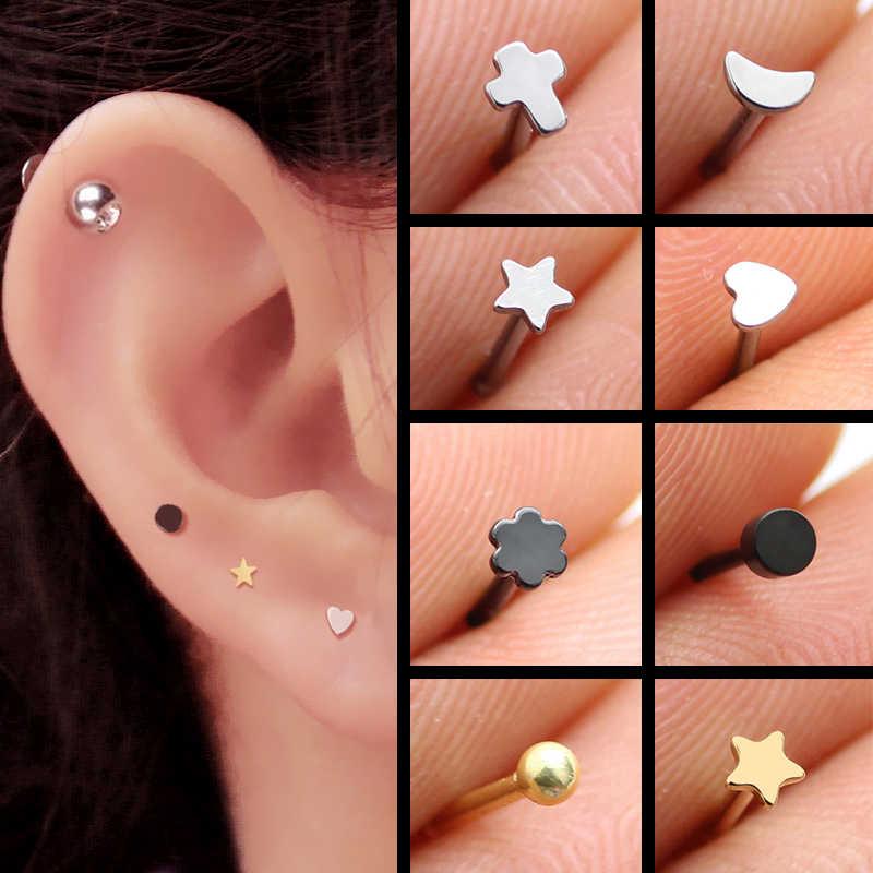 Stainless Steel Small Smooth Heart Moon Cross Star Silver Screw Stud Earrings For Women Girls Men Kids Mini Minimalist Jewelry