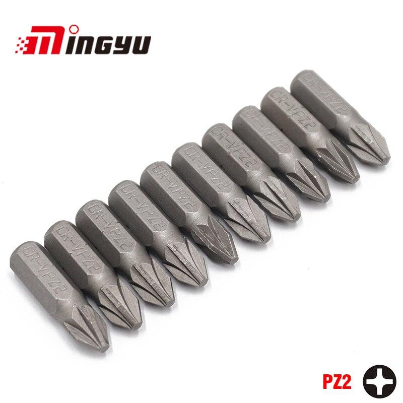 """10 Stks 1/4 """"25mm Phillips Pz2 Schroevendraaier Bit Set Reparatie Tools Screwdriverskit Hex Schacht Boor Voor Power Huishouden Handgereedschap Talrijke In Verscheidenheid"""
