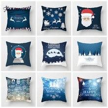 Fuwatacchi Cute Cartoon Cushion Cover Santa Claus Snow Deer Letter Pillow For Home Sofa Car Chair Decorative Pillowcase