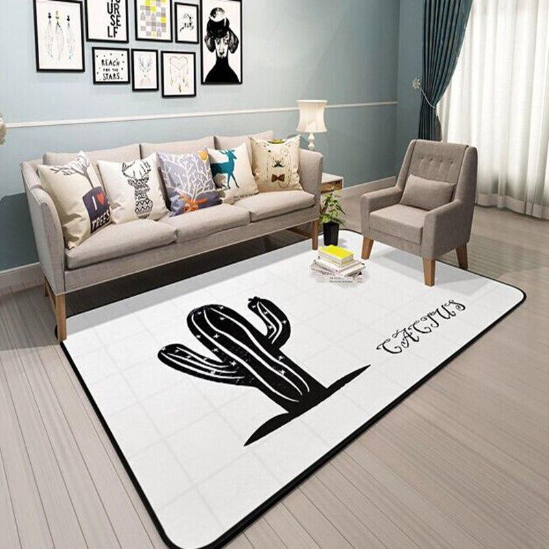 Noir Cactus motif sol blanc enfants tapis Style nordique couverture tapis pour salon chambre rectangulaire canapé chambre tapis