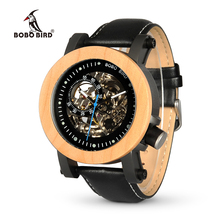 BOBO BIRD WK14 Mens Watches Brand Luxury Vintage Bronze Skeleton Male Case Leather Strap Antique Steampunk Casual Automatic