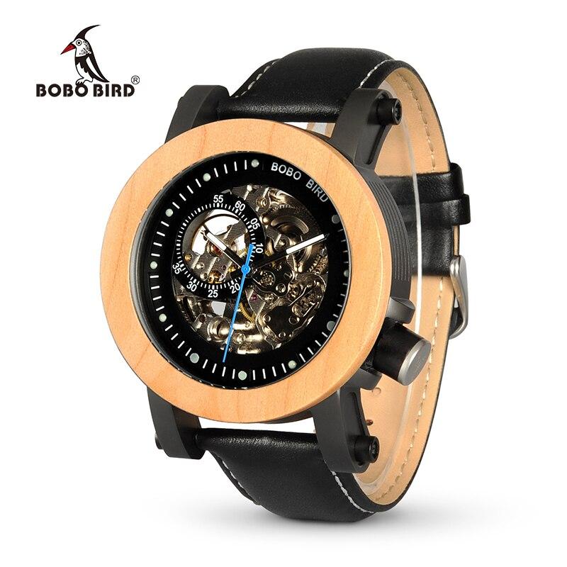 BOBO VOGEL WK14 Herren Uhren Marke Luxus Vintage Bronze Skelett Männliche Fall Leder Antiken Steampunk Casual Automatische