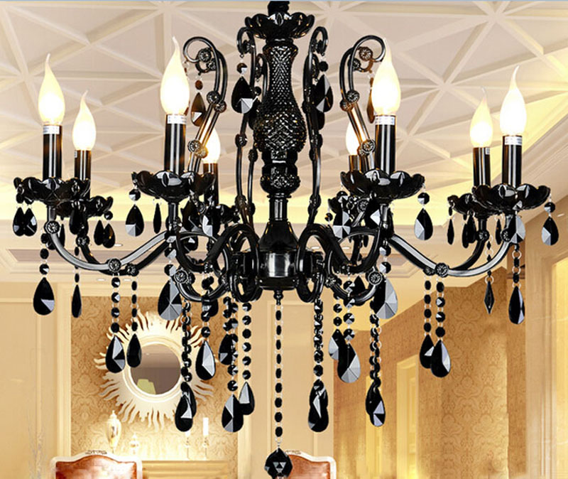 Black crystal lamp European living room crystal chandelier American restaurant bedroom retro iron candle lighting fixtures european style retro glass chandelier north village industrial study the living room bedroom living rough bar lamp loft