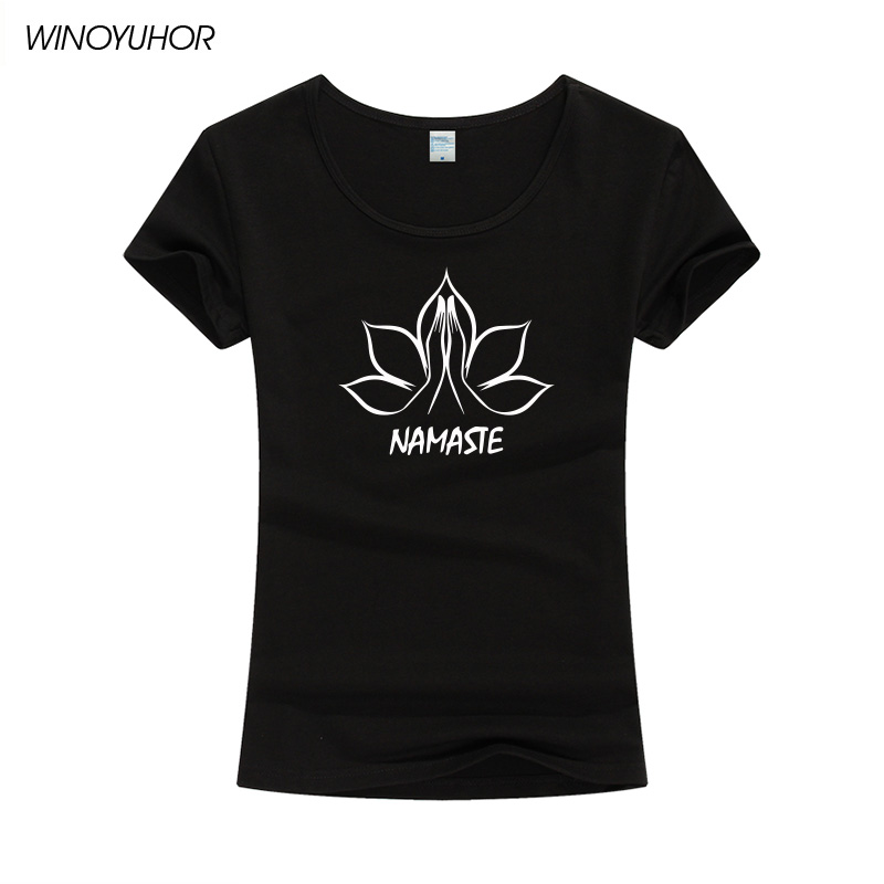 Buddha Namaste Hands Lotus Flower Print Women tshirt Cotton Casual Funny T Shirt For Lady Girl Top Tee Hipster Tumblr T-shirt