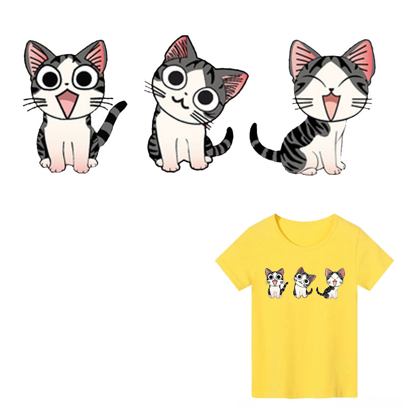 Lovely Animal cat Iron on Patches Stripe Stickers on Clothes Decor DIY T shirt Heat Transfer backpack Washable Fashion Patches E in Patches from Home Garden