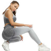 Domidofa 2 Piece ombre gym set yoga women clothes sports bra and leggings woman sportswear female fitness clothing suit