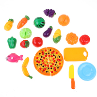 24pcs Simulation Foods Set Fruit Vegetable Pizza Kids Kitchen Pretend Play Toys For Children Cutting