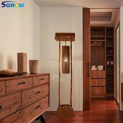 SGROW страна Стиль бамбука, торшеры для столовой Спальня Гостиная чердак сада стоя фонари светильник с E27 лампы