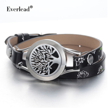 Everlead Tree of life Bracelets Real Leather Essential Oil Diffuser Screw Down stainless steel Locket Bracelet for women