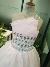 3840 In stock pink one-shoulder kids girls floor length gowns flower girl dress pageant