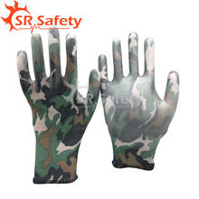 SRSAFETY 4 pairs Camouflage PU glove/ women used Gardening PU gloves/beautiful working gloves PU1350FP-11