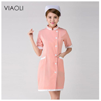 Viaoli Korean High End Nurses Wear Short Sleeved Dental Plastic Professional Medical Uniforms Beauty Clothes Powder