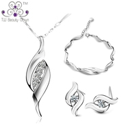 1 Set Genuine 925 Sterling Silver Synthetic White Crystal Zirconia Necklace Earrings Bracelet Wedding Jewelry Sets For Women