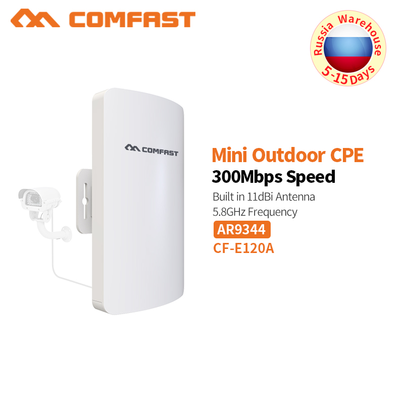 COMFAST 300Mbps Mini Outdoor CPE Wireless Bridge 5.8ghz Wifi Router For IP Camera Project 1-2km Long Range Amplifier CF-E120A comfast wireless bridge 5 8ghz 300mbps mini outdoor cpe wifi router for ip camera project 1 2km long range amplifier cf e120a