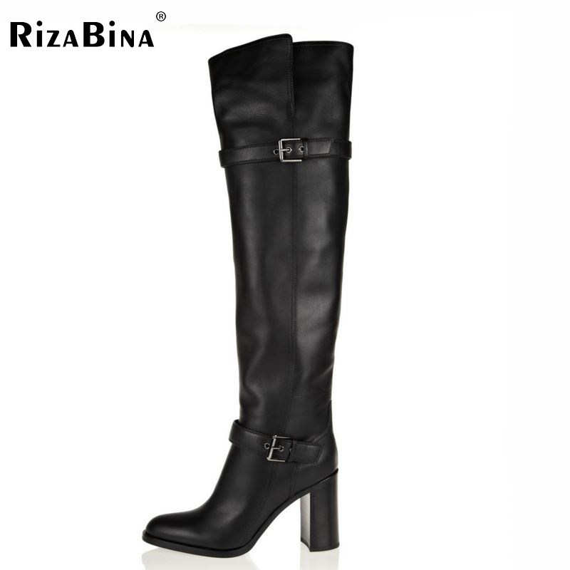 RizaBina woman over knee long boots natural real leather boots women bota snow boot high heel footwear shoes R5391 EUR size31-45 size 31 45 women real genuine leather high heel over knee boots winter warm long boot riding quality sexy footwear shoes r8297
