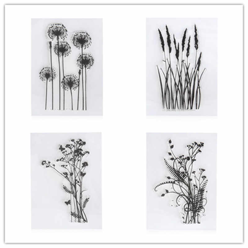 New Flower Grass Transparent Acrylic Silicone Rubber Clear Stamps Sheet for DIY Scrapbooking Photo Album Cards Making Decoration