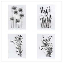2017 New Flower Grass Transparent Acrylic Silicone Rubber Clear Stamps Sheet for DIY Scrapbooking Photo Album Cards Making Decor
