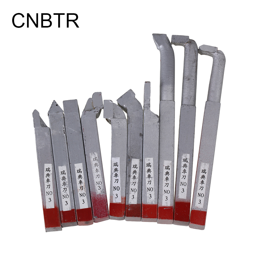 CNBTR 10pcs 10x10mm Silver Shank Steel Lathe Turnning Tool Bit With YG8 Alloy Tool Bit