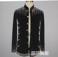 sexy Customize High Quality Ballroom Dance Men's Latin Tops With Rhinestone