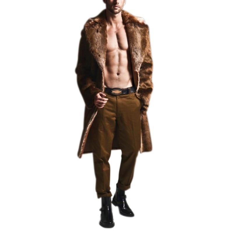 SILVERCELL Imitation mode hommes fourrure de renard longue Section de la longue Section du manteau fourrure laine veste