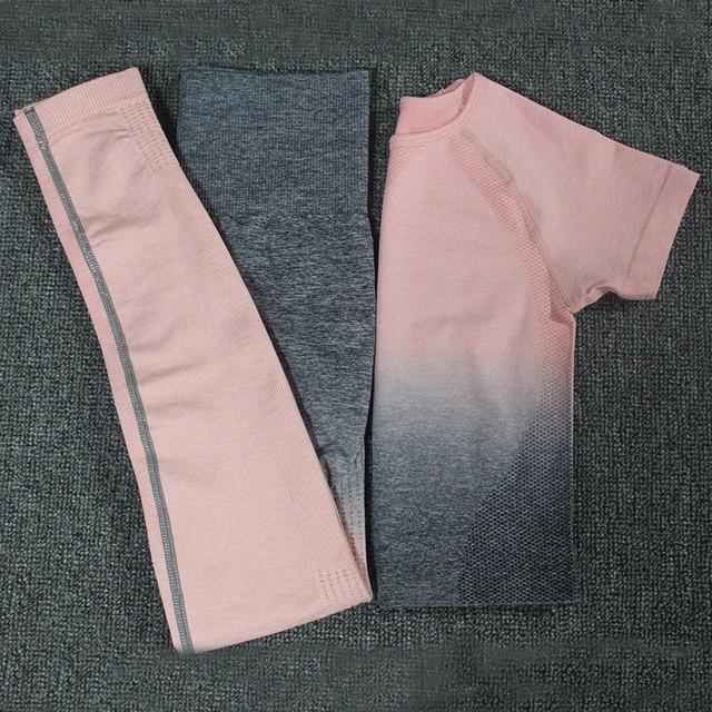 2 adet Ombre enerji dikişsiz kadın spor takım elbise spor egzersiz kıyafetleri kısa kollu spor kırpma üst ve ezme popo tayt Yoga seti