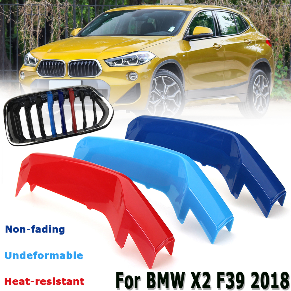 For BMW X2 F39 2017 2018 2019 ABS Front Center Grille Strips Cover Clips Trim *3